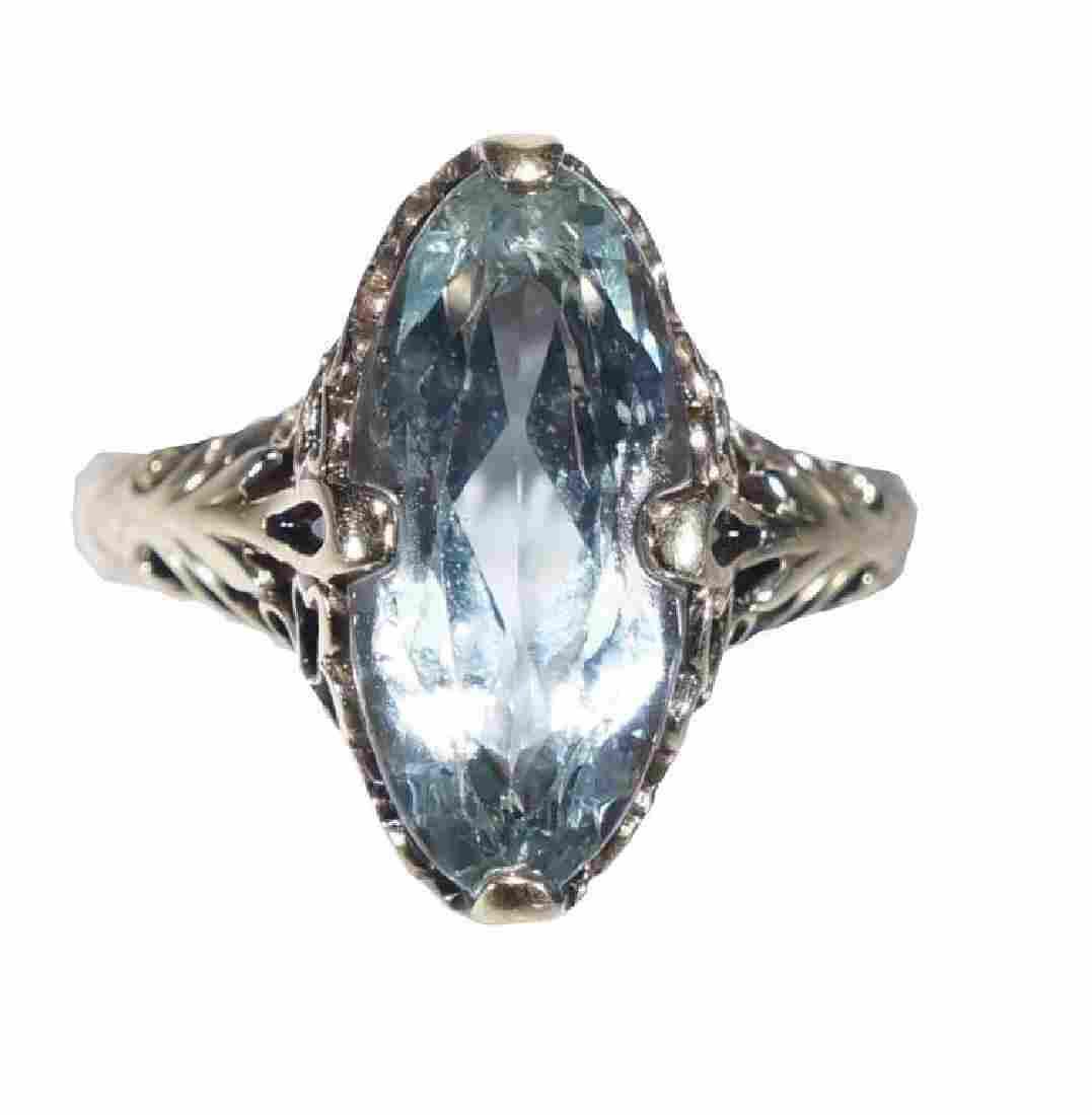 3ct Blue Topaz 14kt Gold Ring