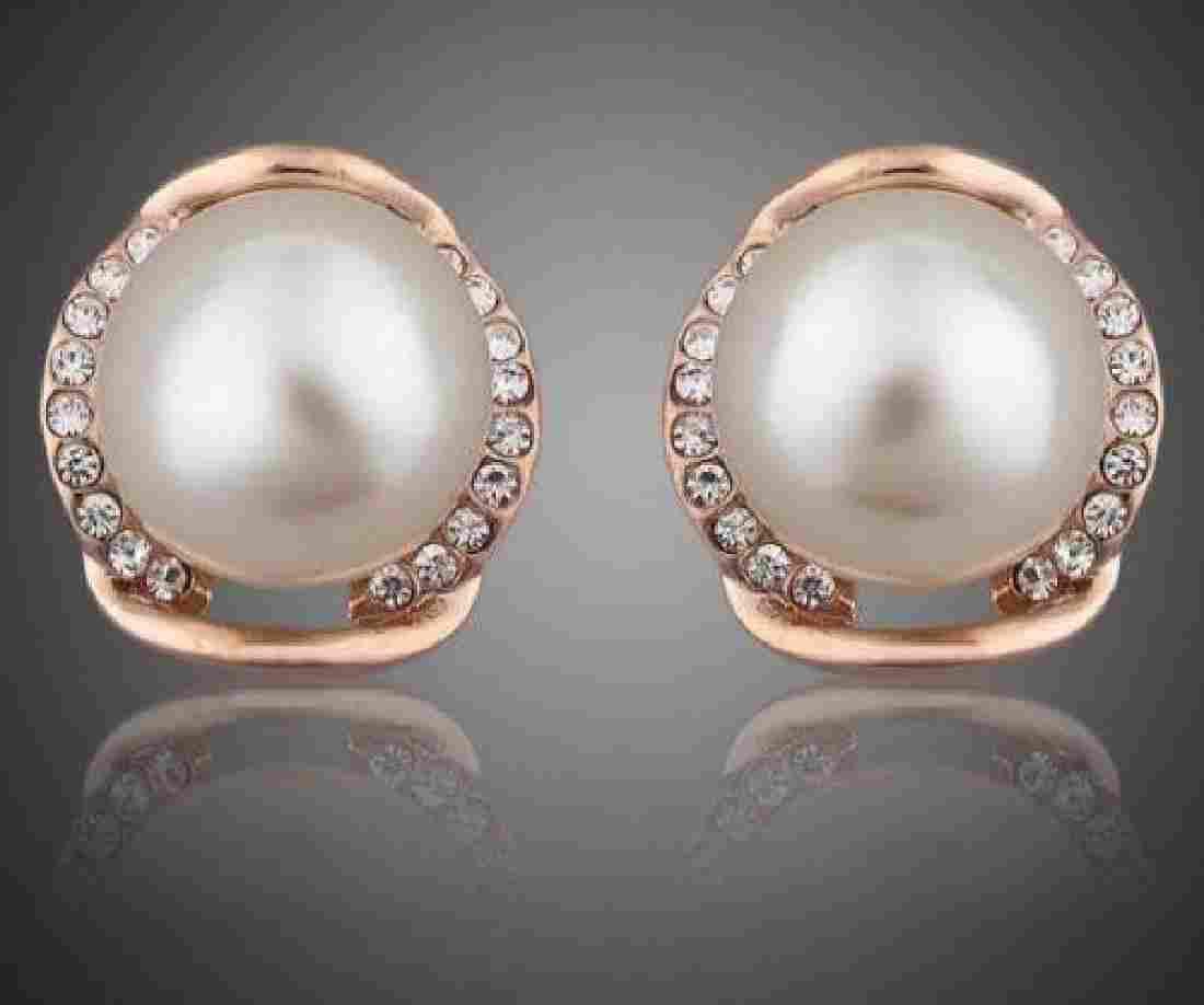 New 18k Rose Gold Swarovski Austrian Crystal Pearl Stud