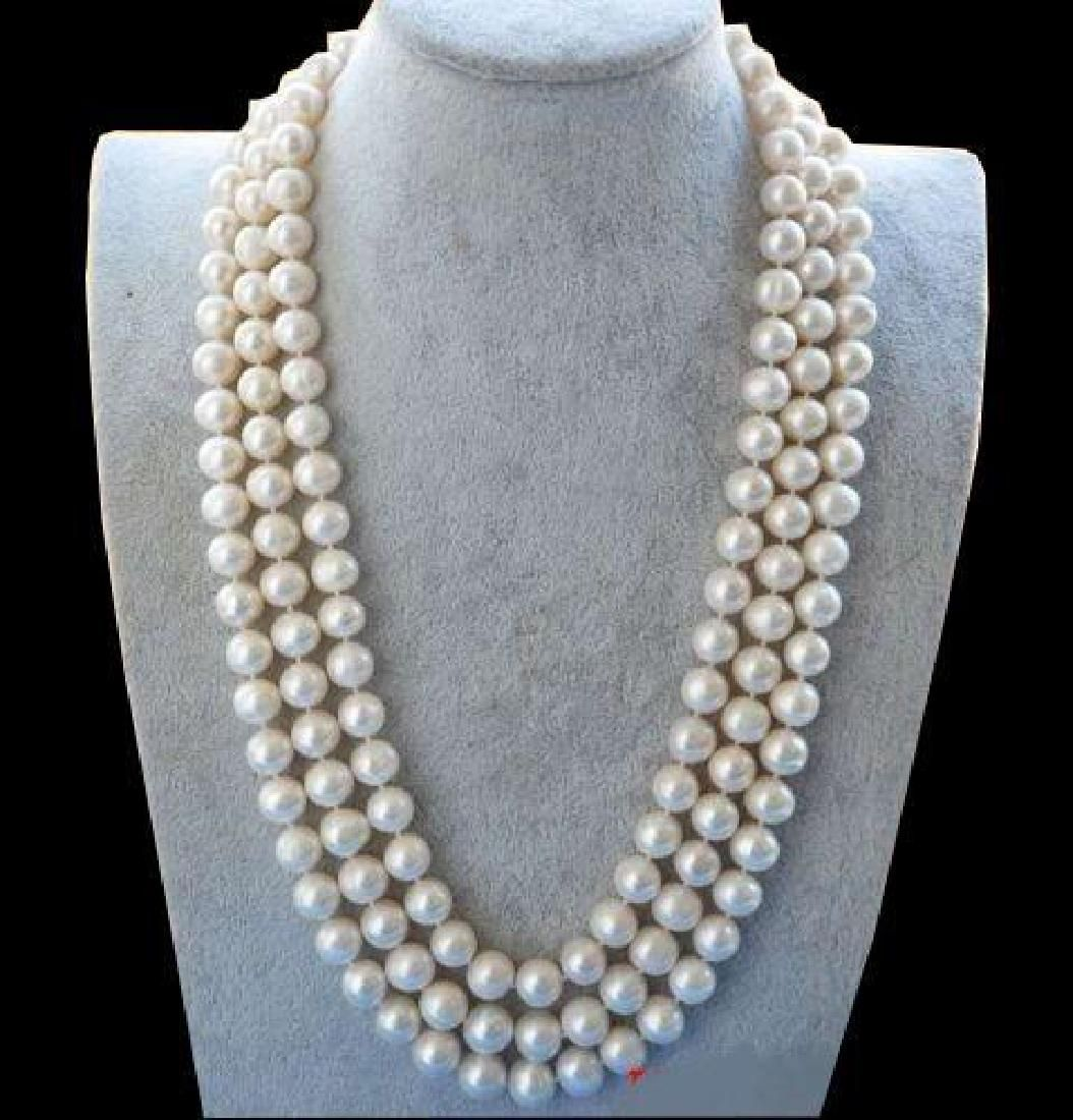 """50"""" 8-9mm White Akoya Pearl Necklace 14k Clasp"""