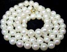 89mm AAA White Akoya Pearl Necklace 18 14K Clasp