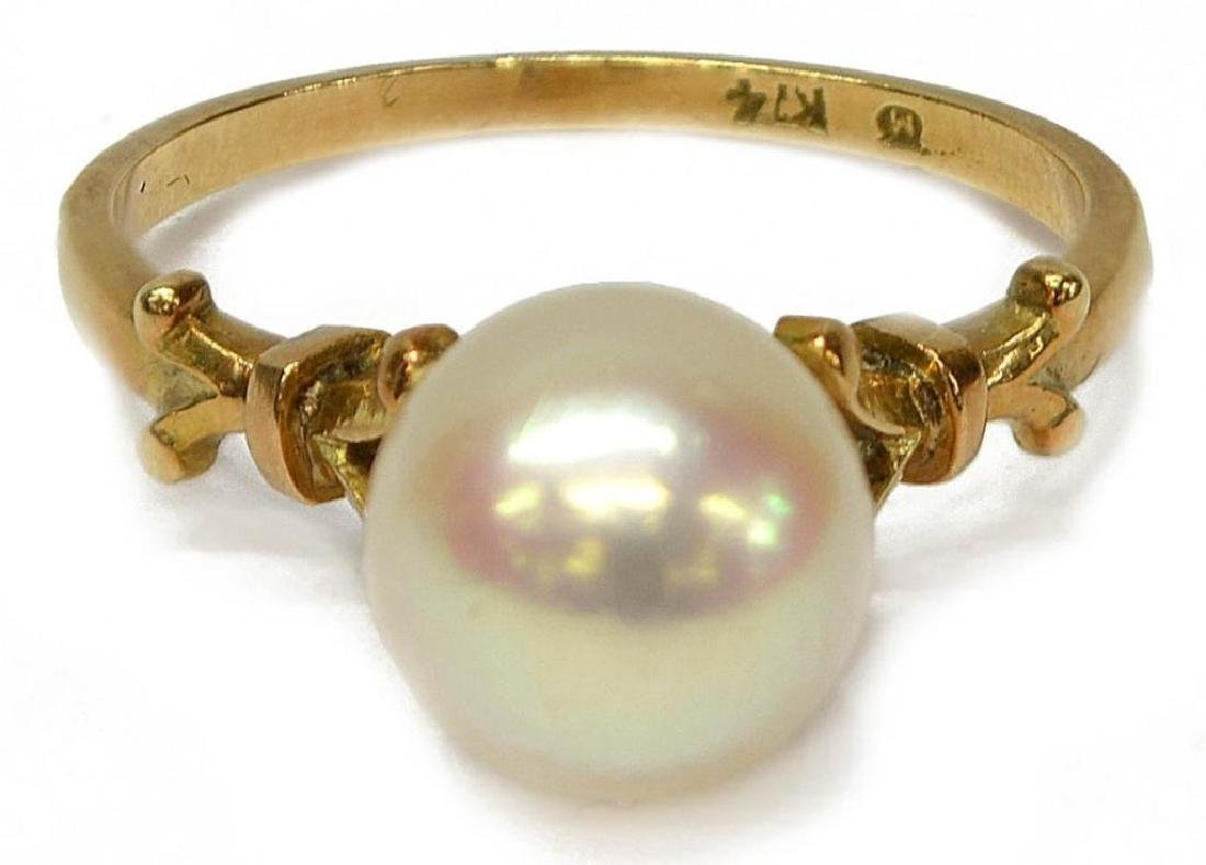Estate Mikimoto Pearl 14kt Gold Ring