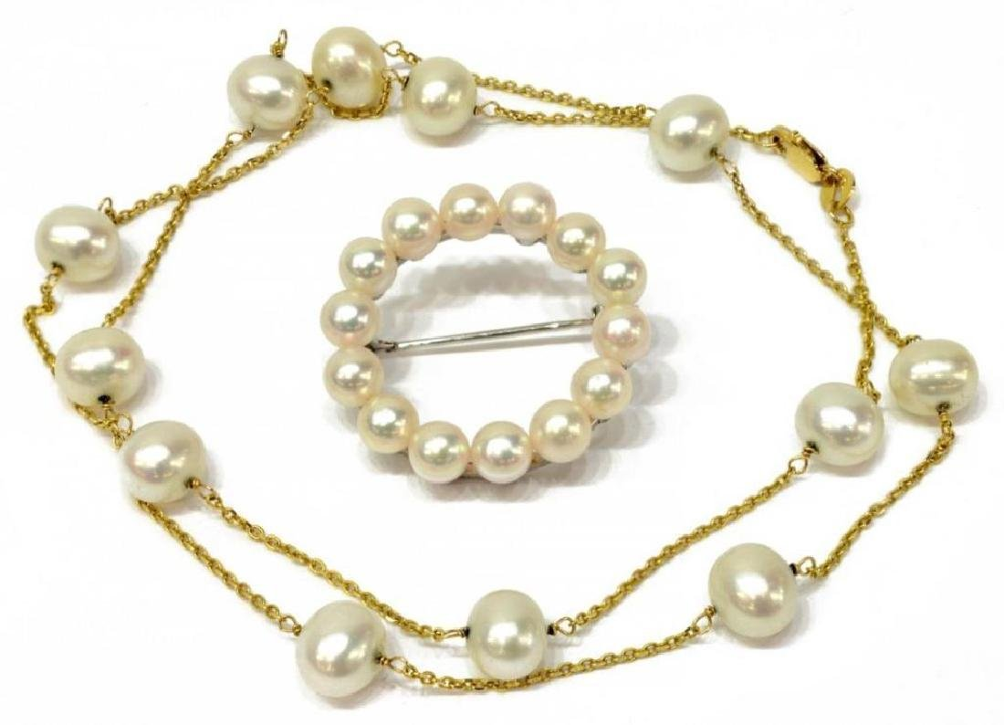 Estate Mikimoto Pearl Necklace & Brooch