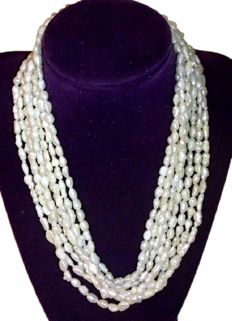 Four Strand Natural Seed Pearl 14kt Gold Necklace