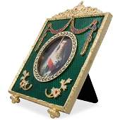 5 Faberge Square Green Enameled Guilloche Russian