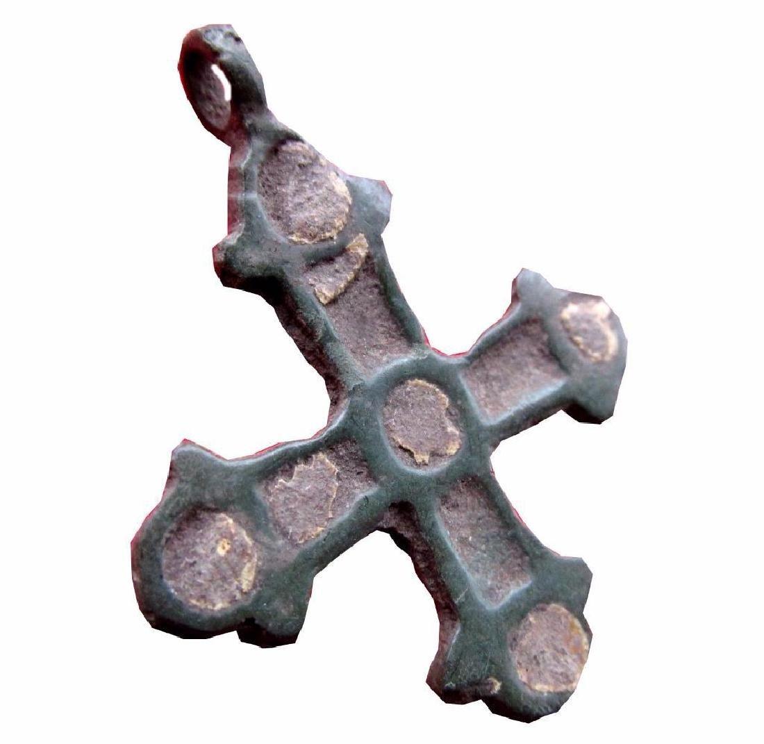 Ancient Viking Bronze Cross Pendant Kievan Rus. Enamel - 2