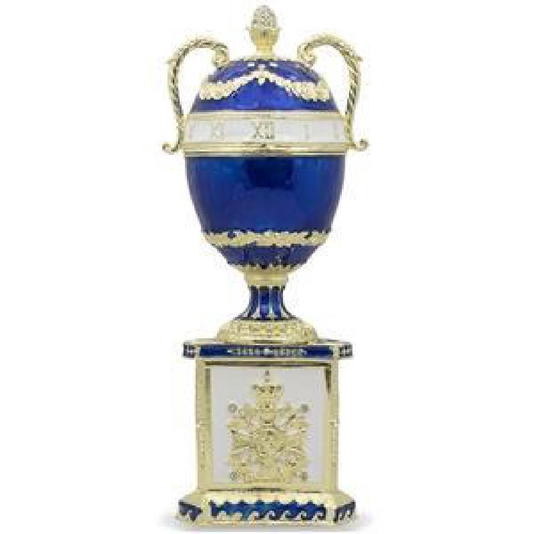 "1895 Blue Serpent Clock Russian Faberge Egg 7"""