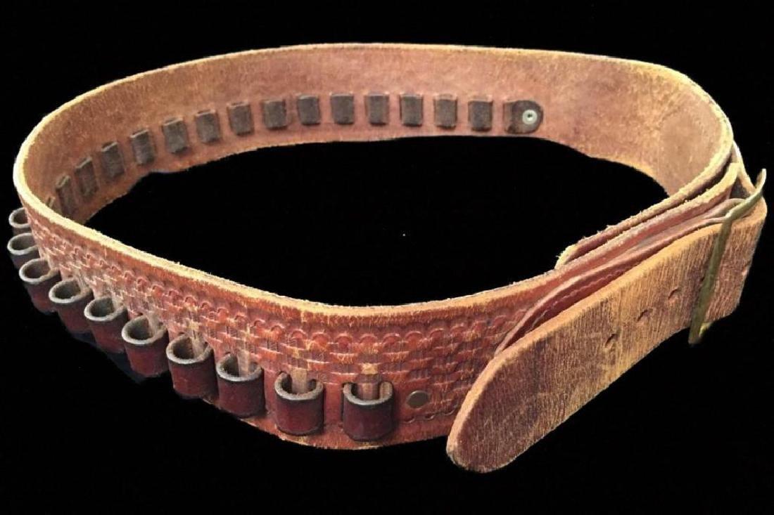 Tooled Leather Cartridge Belt Marked Boise Idaho