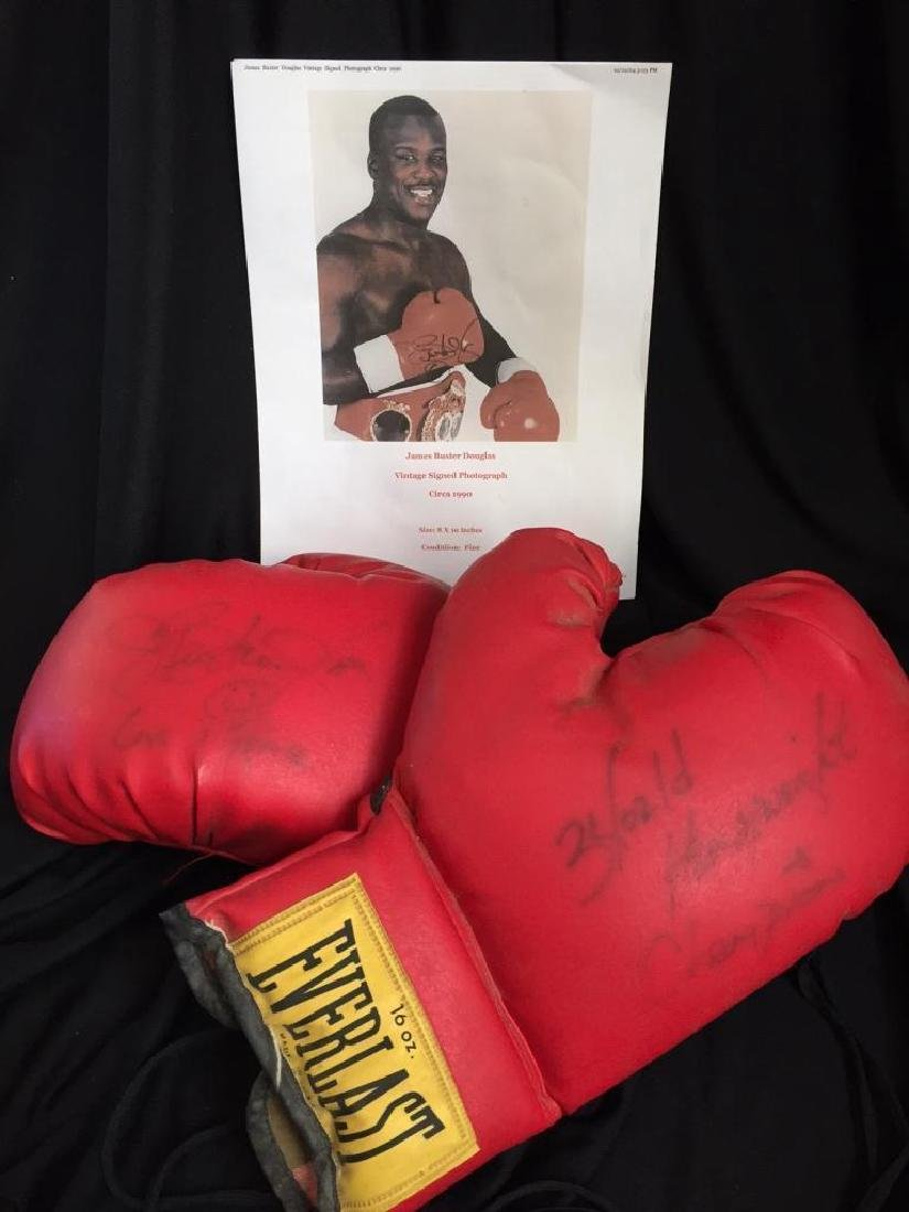 Authentic Buster Douglas Signed Boxing Gloves
