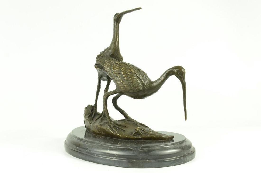 Original Signed two Wildlife Crane Cranes Pond Garden - 3
