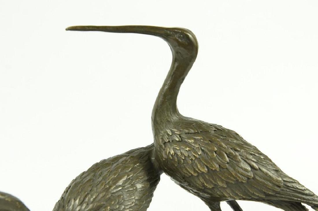 Original Signed two Wildlife Crane Cranes Pond Garden - 5