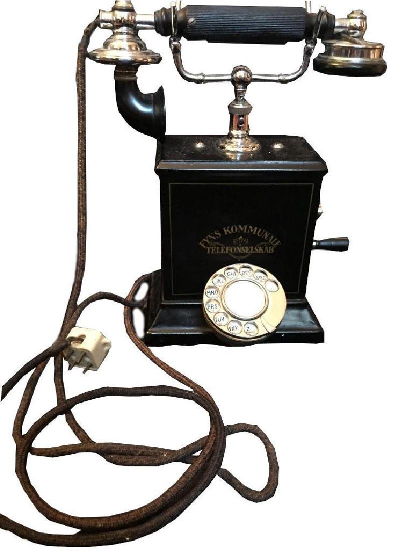 Rare Early 20thc Swedish Hand Crank Telephone