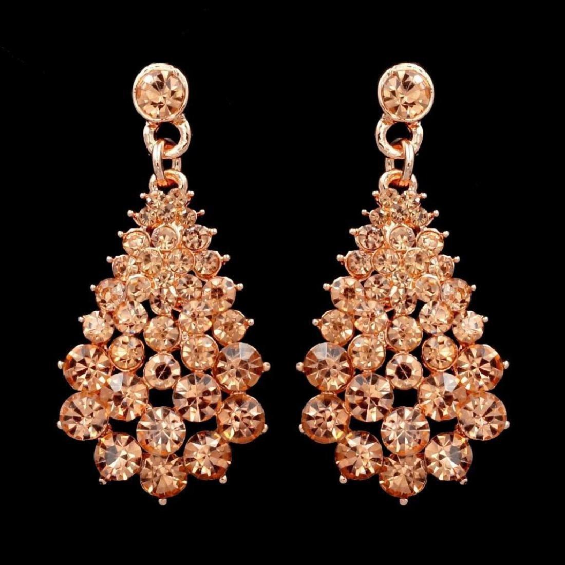 ROSE GOLD Plated Peach Crystal Rhinestone Wedding Drop