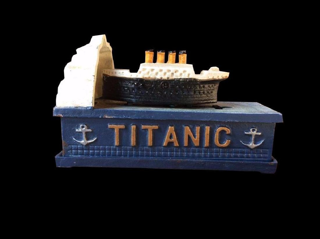 Vintage TITANIC Cast Iron Mechanical Bank, Metal Piggy