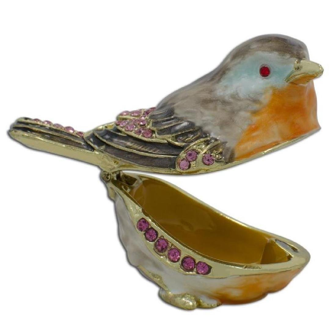 Faberge Inspired Robin Bird Trinket Jewel Box - 2