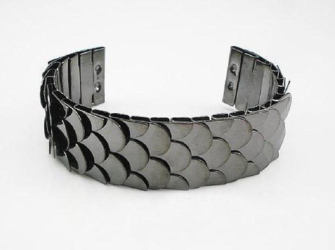 Gunmetal Scale Bangle Bracelet