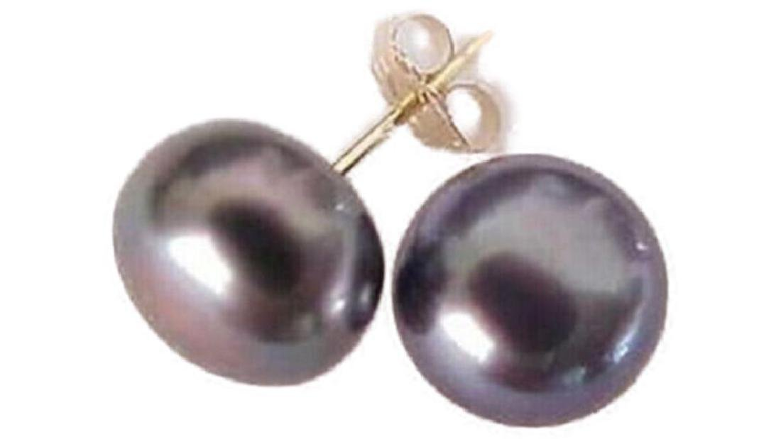 Hot 8-9 mm Tahitian Black Pearl Stud Earrings 14k GOLD