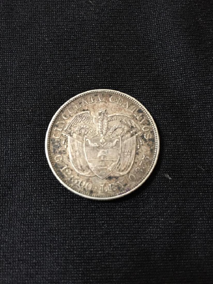 1892 Columbia 50 Centavos Columbus Silver Coin - 2