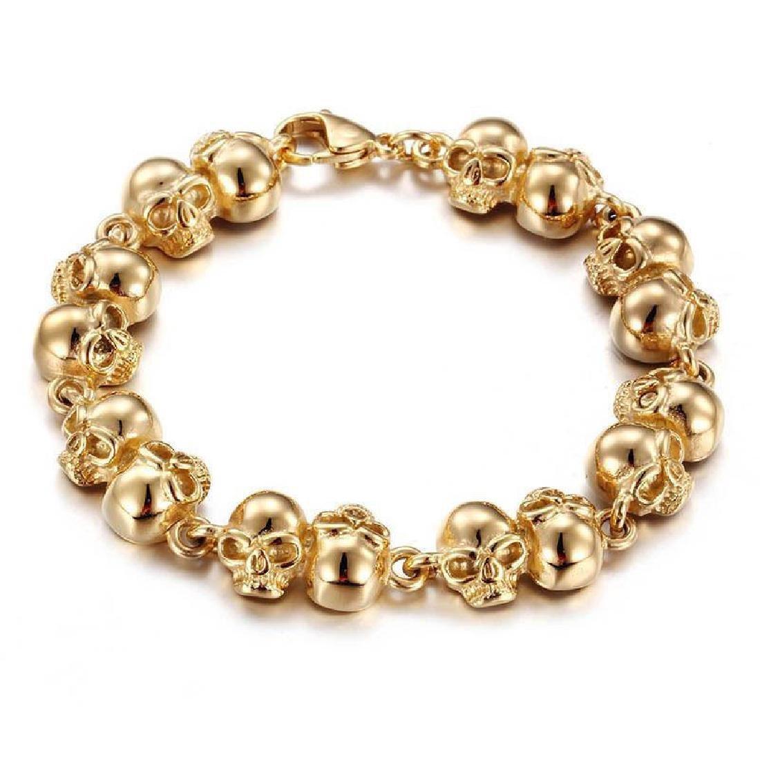 Men Women Bracelet Stainless Steel Gold Biker Skull