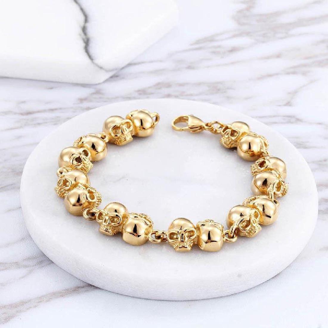 Men Women Bracelet Stainless Steel Gold Biker Skull - 2