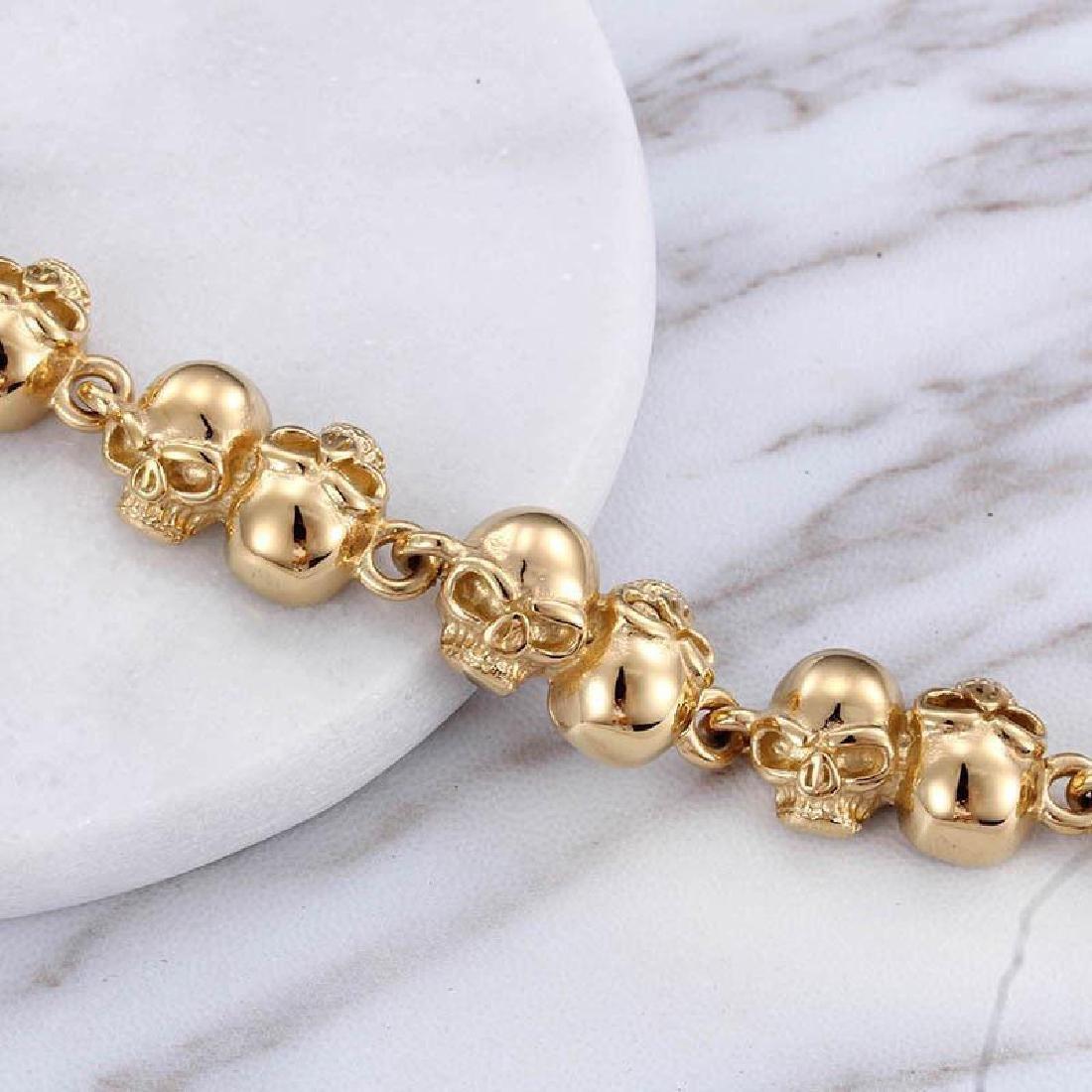 Men Women Bracelet Stainless Steel Gold Biker Skull - 3