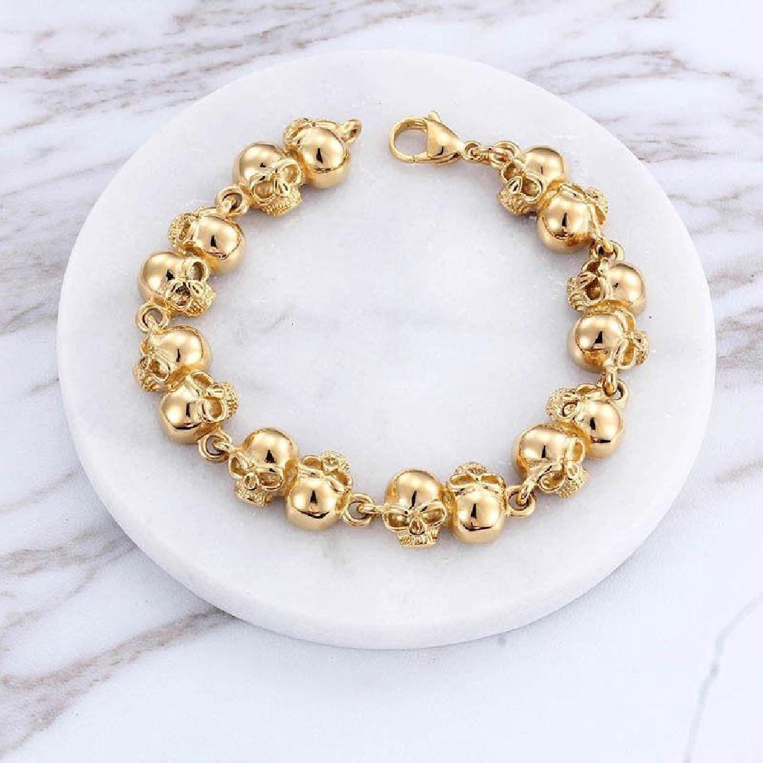 Men Women Bracelet Stainless Steel Gold Biker Skull - 4