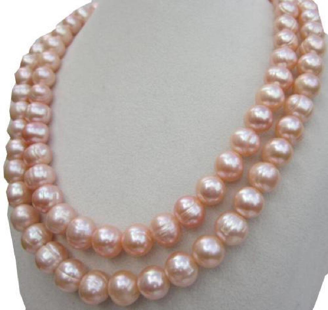 "35"" Natural Pink South Sea Pearl 14kt Gold Necklace"