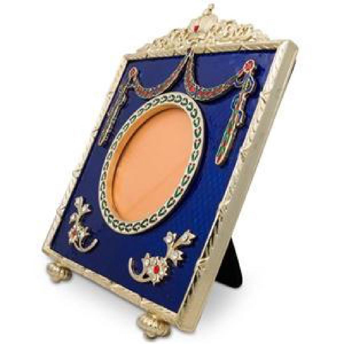 "5"" Faberge Square Blue Enameled Guilloche Russian"