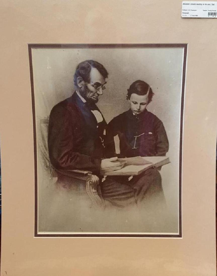 Abraham Lincoln & Son Sepia Photo Print