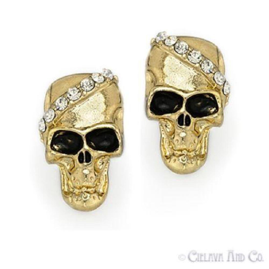 Skull Charm Cubic Zirconia CZ Crystal Earrings Fashion