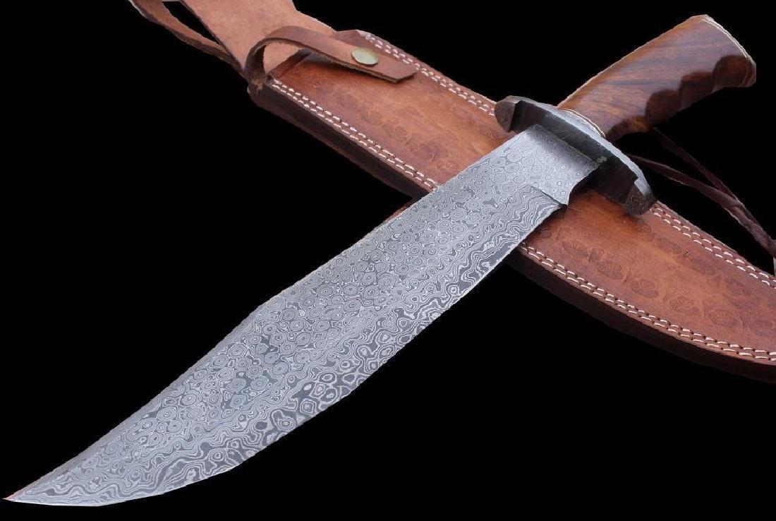 Damascus Knife Custom Handmade - 17.50 Inches WALNUT