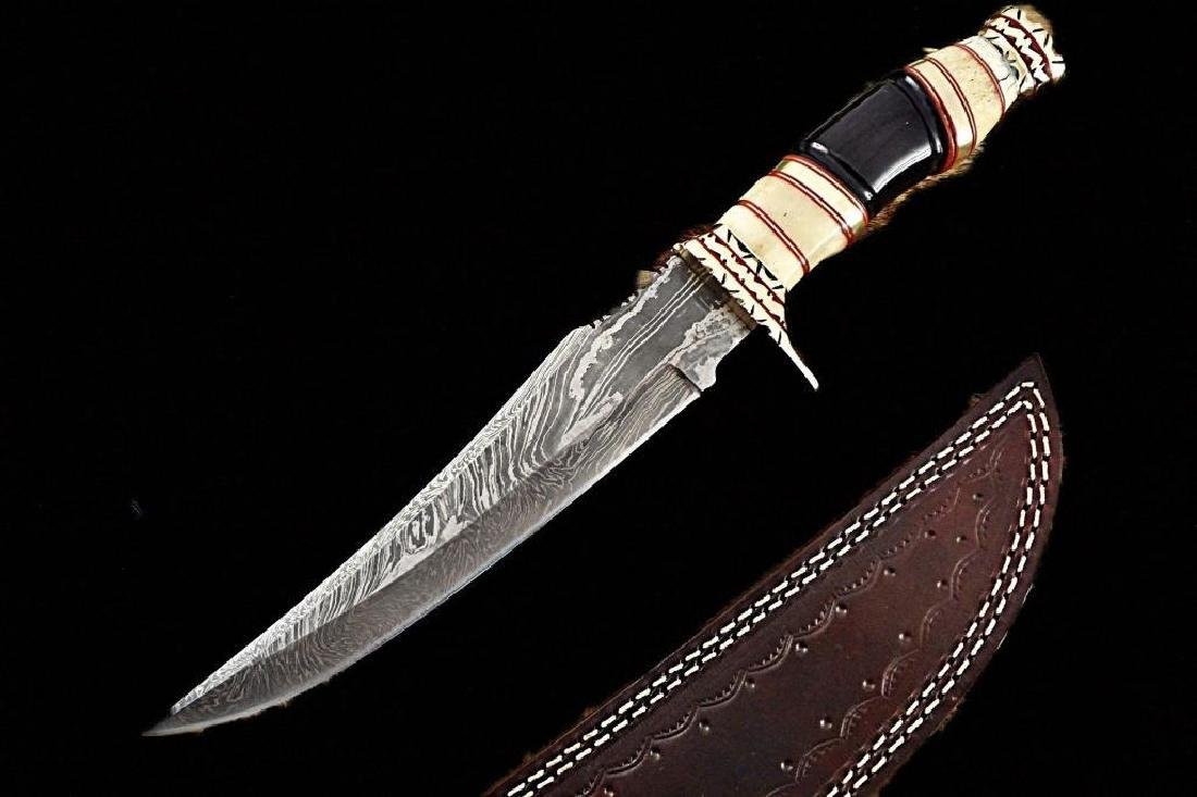 "Damascus steel Hunting Knife, 13.5"" Long hand forged,"