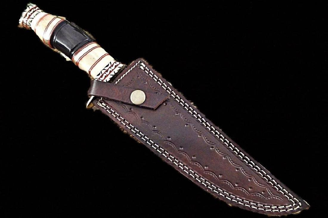 "Damascus steel Hunting Knife, 13.5"" Long hand forged, - 4"