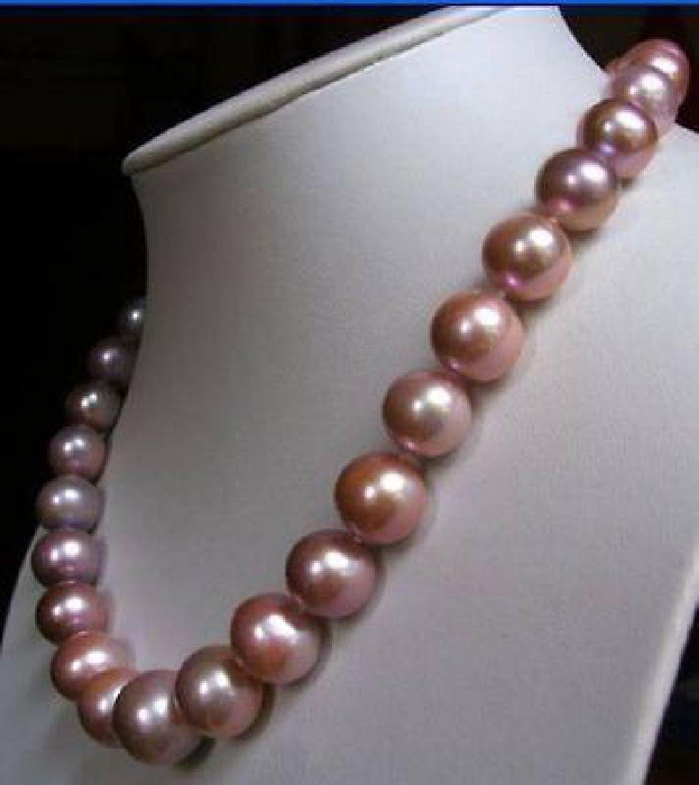 18inch 10-11mm Akoya South Sea Pink Purple Pearl