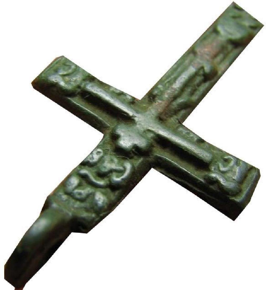 Late Medieval Period Church Bronze Cross - 2