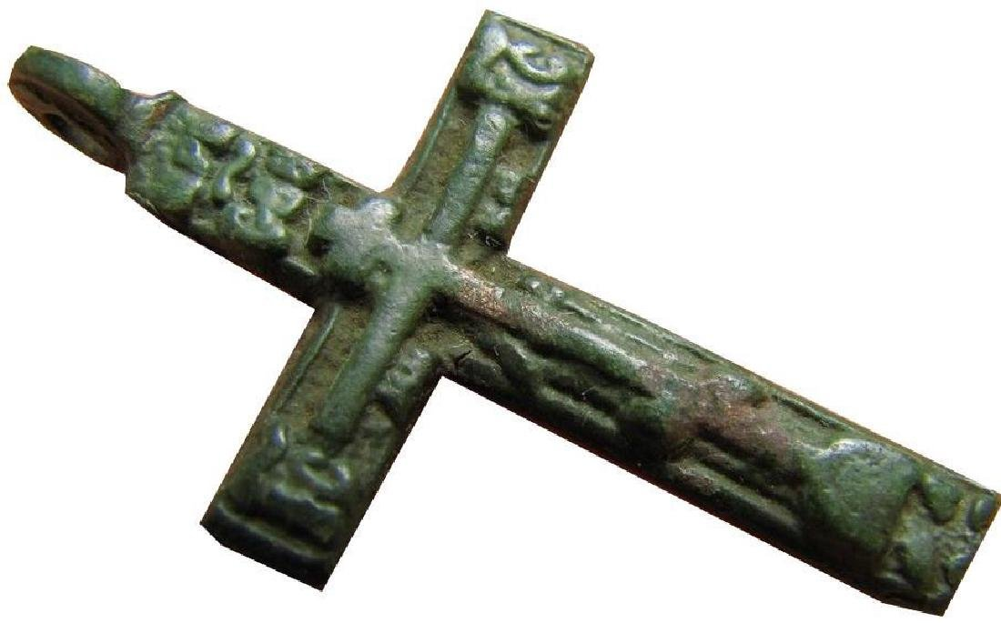 Late Medieval Period Church Bronze Cross - 7