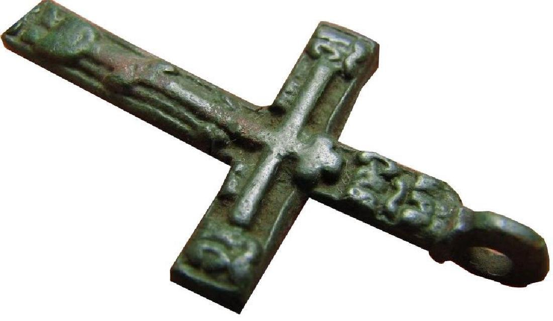 Late Medieval Period Church Bronze Cross - 8