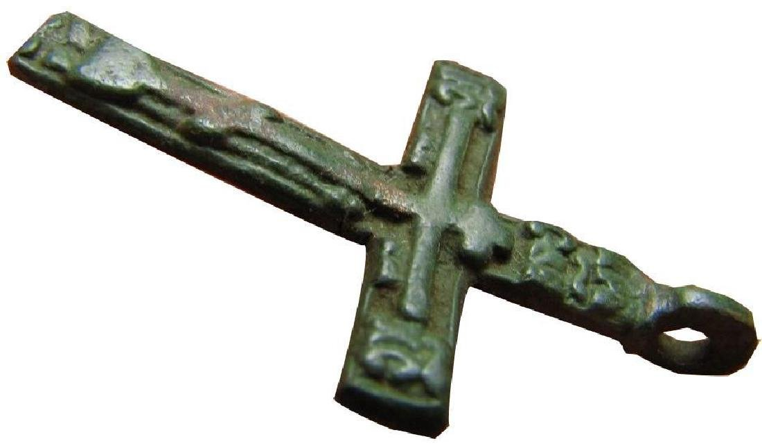 Late Medieval Period Church Bronze Cross - 9