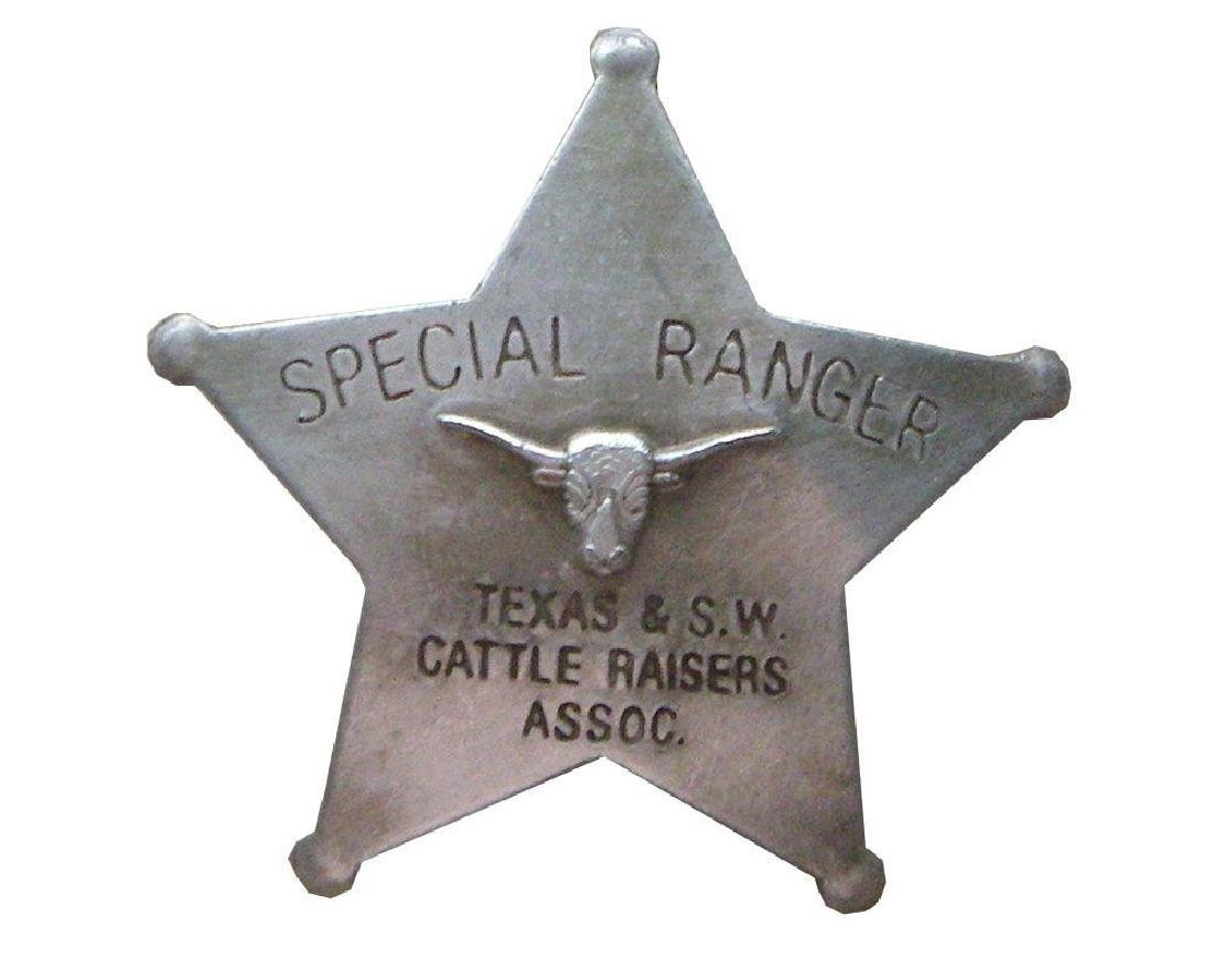 Special Texas Ranger & S.w. Cattle Badge With Pin Back