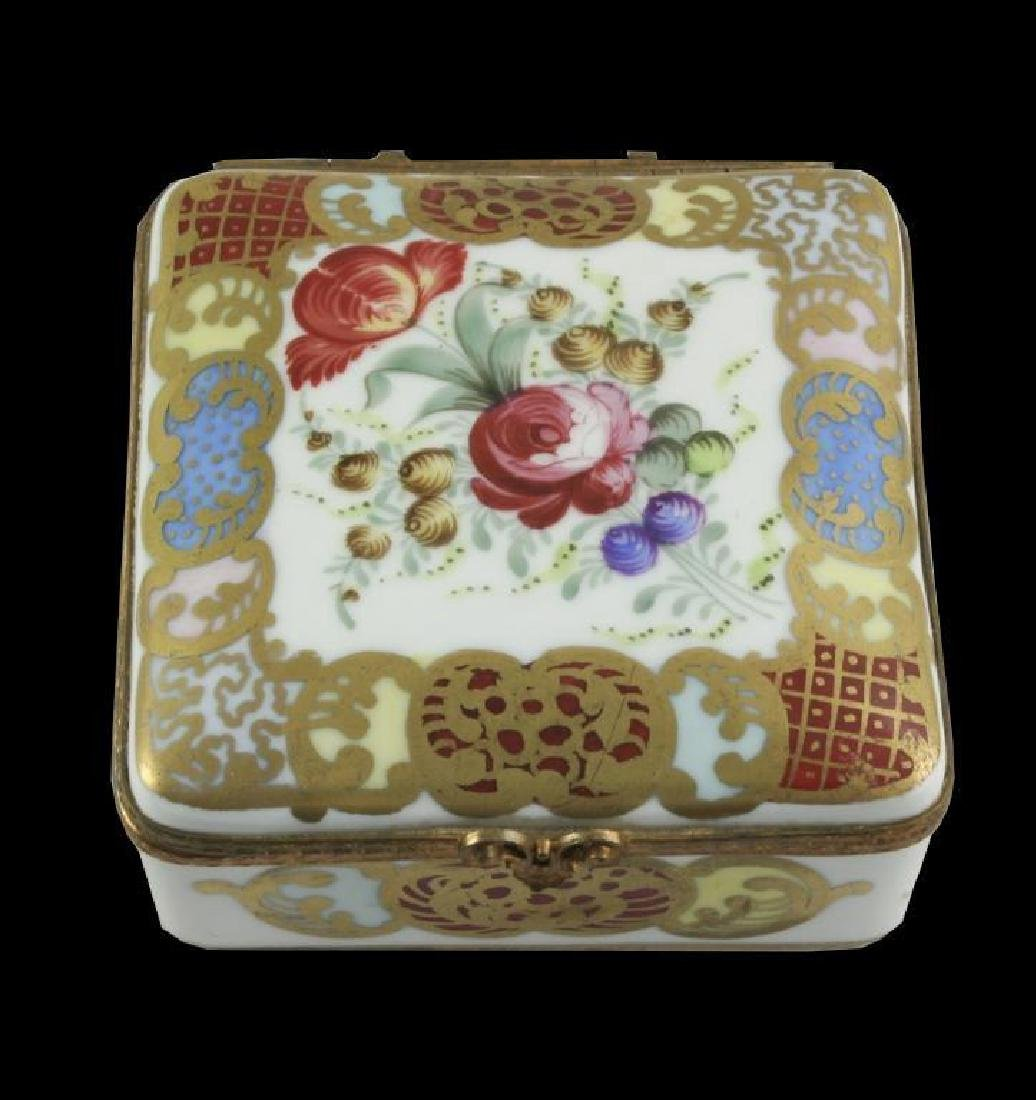 French Porcelain Floral Trinket Jewel Box