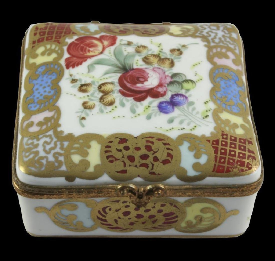 French Porcelain Floral Trinket Jewel Box - 2