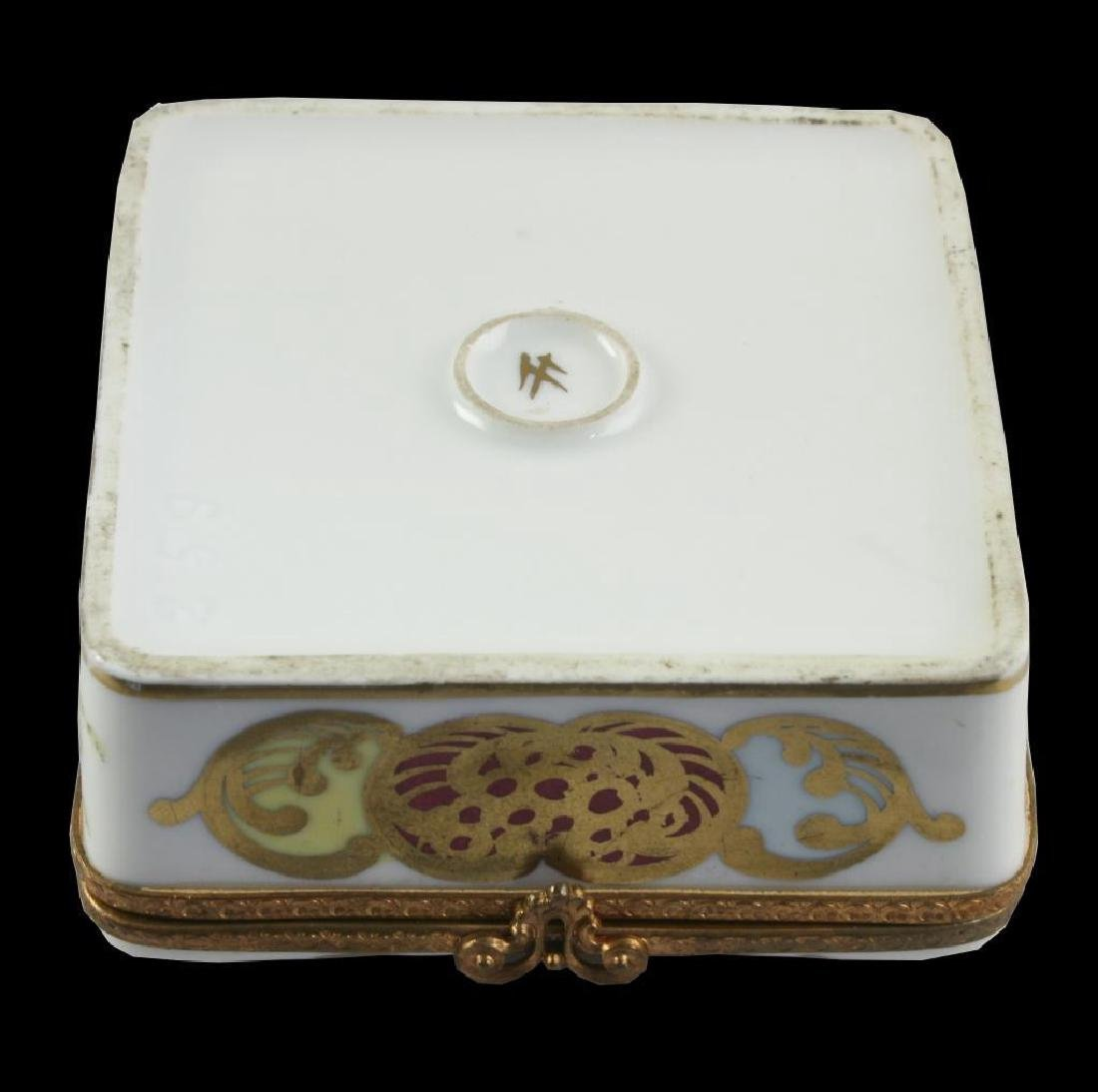 French Porcelain Floral Trinket Jewel Box - 3