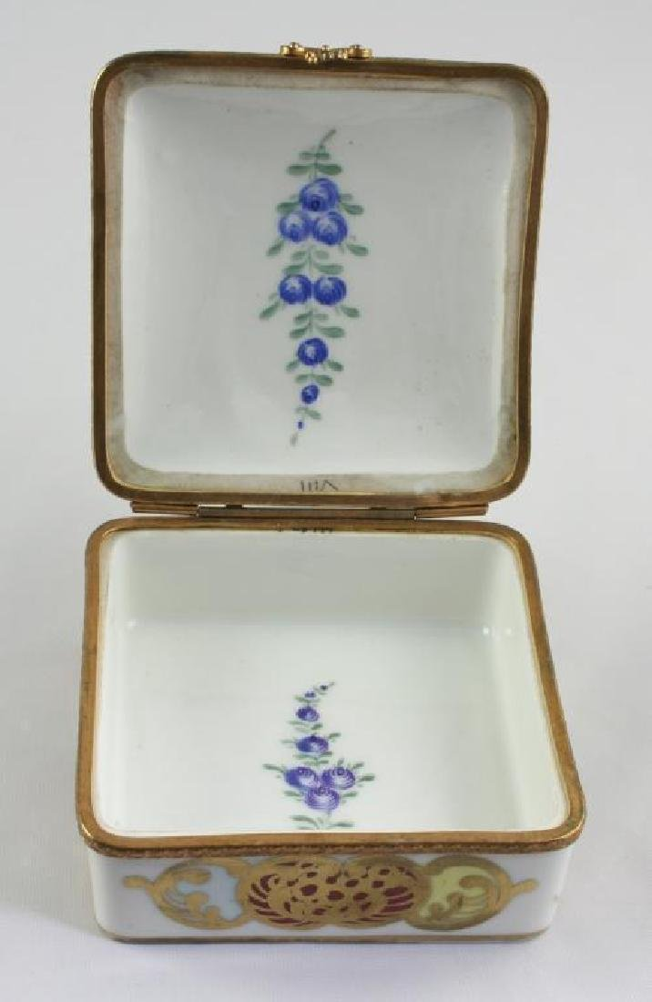 French Porcelain Floral Trinket Jewel Box - 4