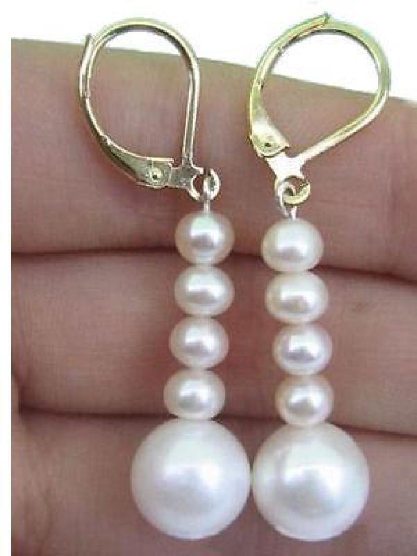 Perfect South Sea White Pearl Earrings 14k Hook