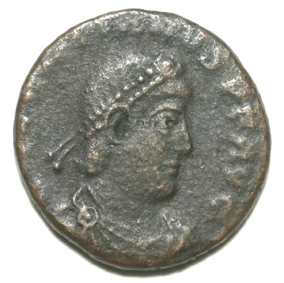 Roman Bronze Coin Follis Valentinianus Gloria Romanorum - 3