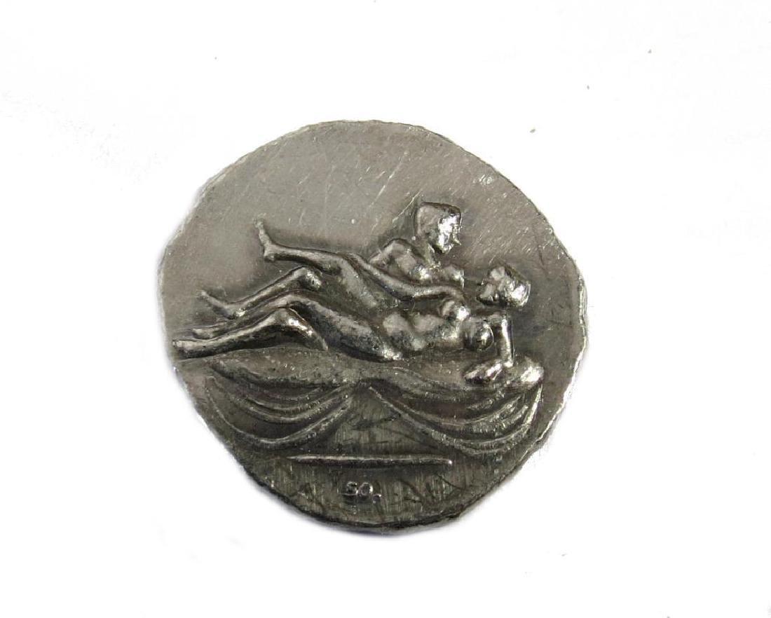 Vintage Roman Greek coin silver tone Repro Tetradrachm