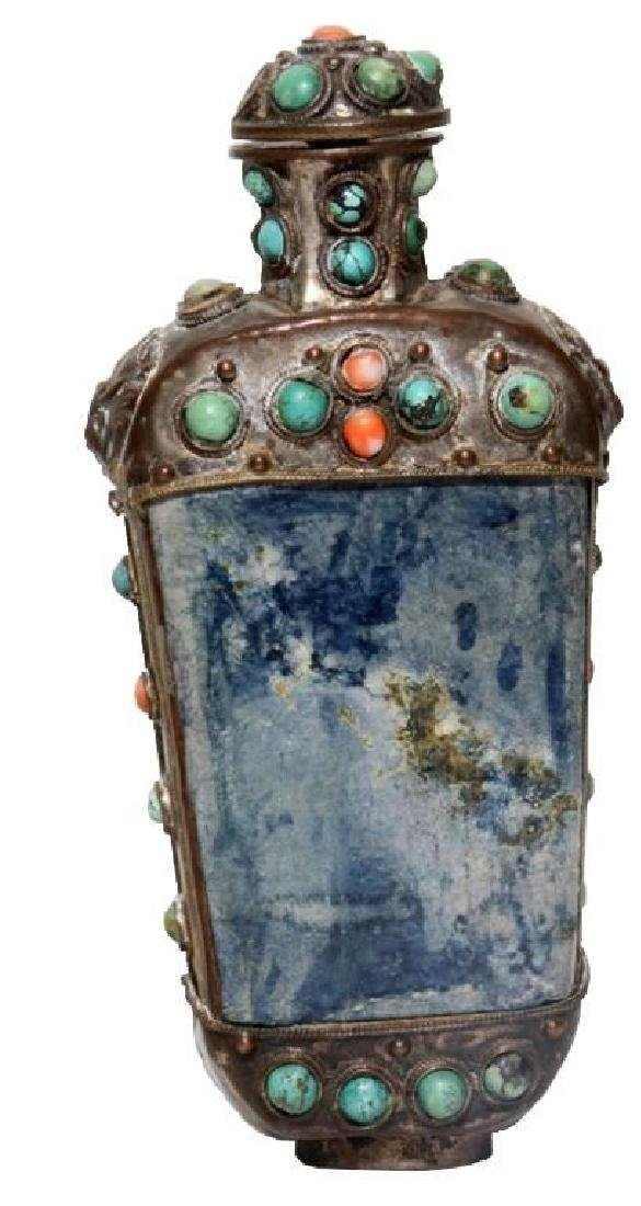 Antique Tibetan Silver Snuff Medicine Bottle
