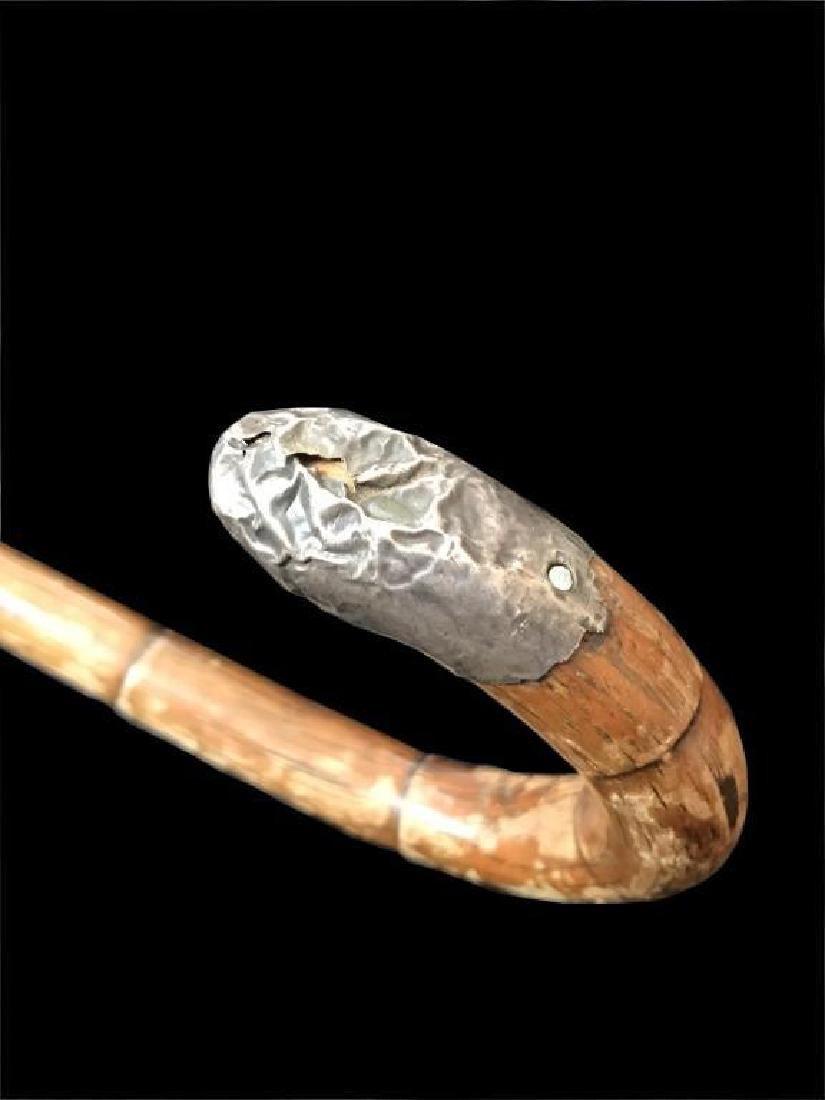 Early 19thc Edwardian Silver Mounted Cane Stick