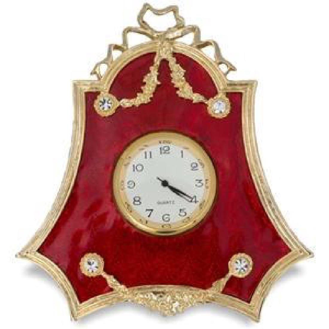 """Faberge Inspired 4"""" Faberge Red Enameled Guilloche"""