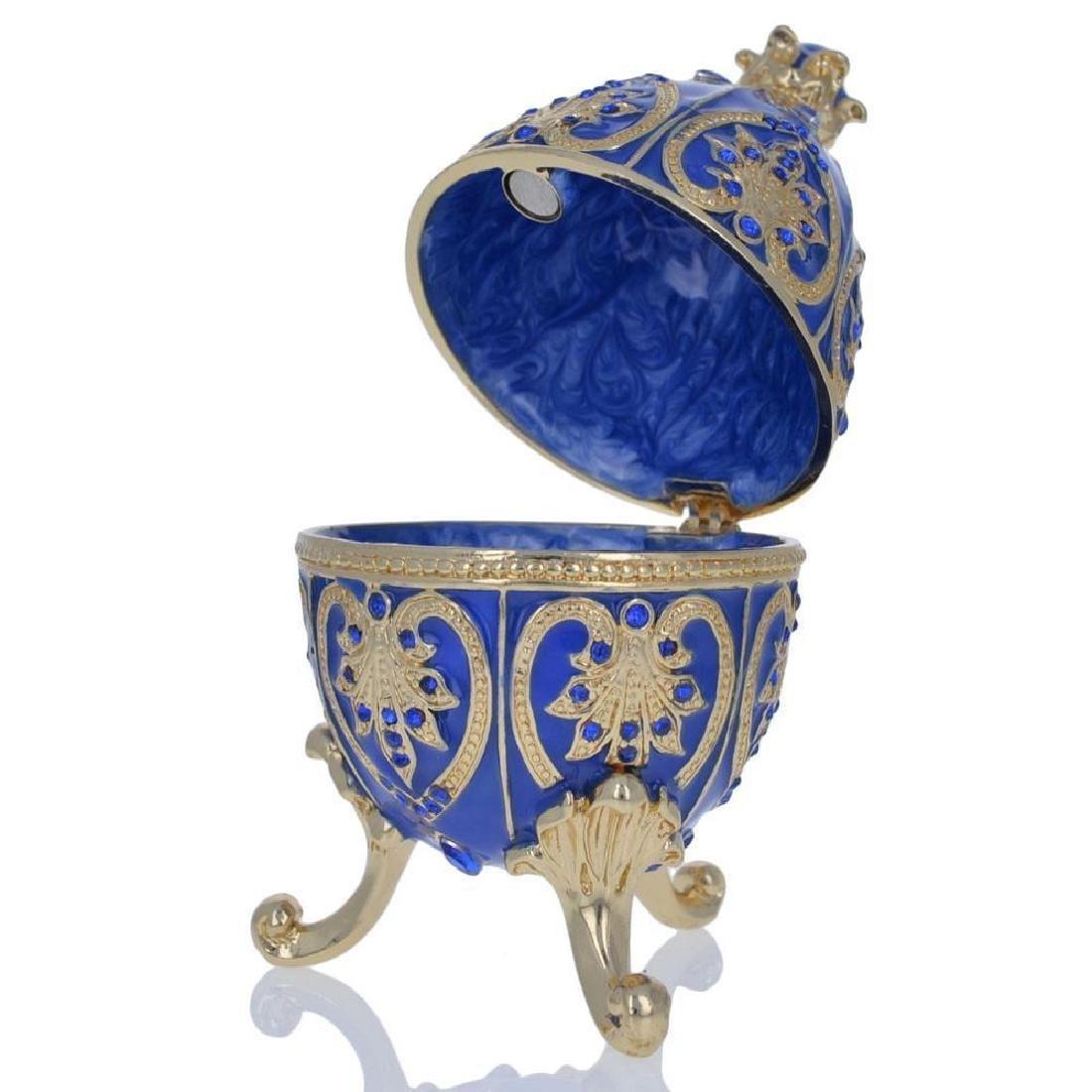 "4.5"" Blue Jewel Royal Crown Faberge Inspired Easter Egg - 2"