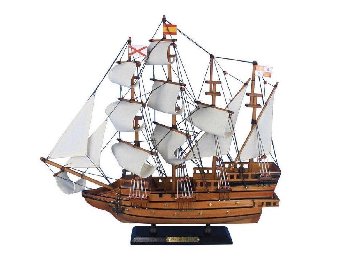 "Wooden Spanish Galleon Tall Model Ship 20"""